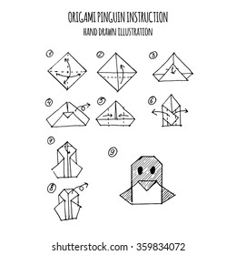 hand drawn illustration step by step of penguin origami