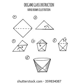 hand drawn illustration step by step of glass origami