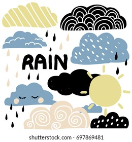 Hand drawn illustration with sun, clouds and raindrops. Cute vector graphic set