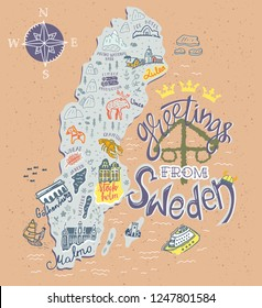Hand drawn illustration of Sweden map with tourist attractions. Travel  concept.