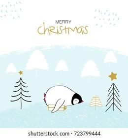 Hand drawn illustration of sweet Christmas penguins