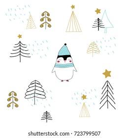 Hand drawn illustration of sweet Christmas penguin