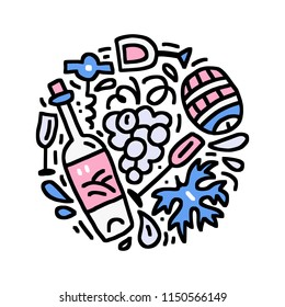 Hand drawn illustration with symbols of wine made in doodle style. Round concept vector drawing for wine tasting event