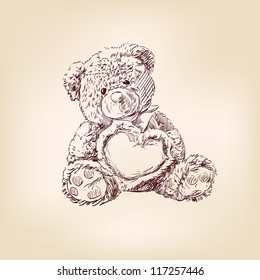 Hand drawn illustration of  teddy bear with  heart.