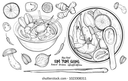 hand drawn illustration of thai food. Tom Yum Goong