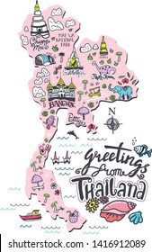 Hand drawn illustration of Thailand map with tourist attractions. Travel  concept.