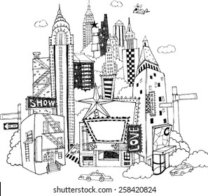 Hand drawn illustration that skyscrapers and theaters stand densely together in the midtown of a city.