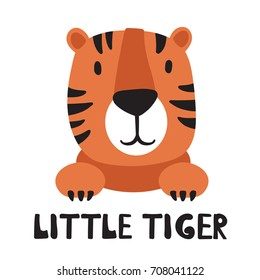 Hand drawn illustration with tiger and lettering. Colorful background vector. Poster design with  muzzle of animal and english text. Little tiger, card. Decorative cute backdrop, good for printing