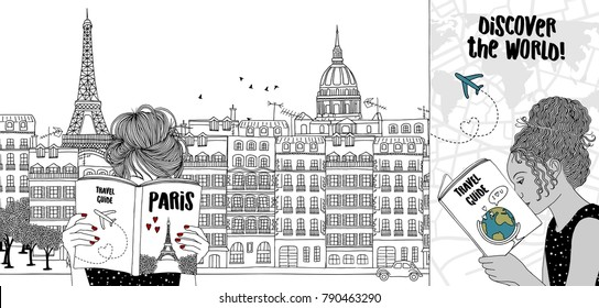 Hand drawn illustration of two girls reading tourist guides, with the skyline of Paris in the background
