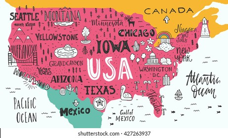 Hand drawn illustration of USA map with hand lettering names of states and tourist attractions. Travel to USA concept. American symbols on the map.