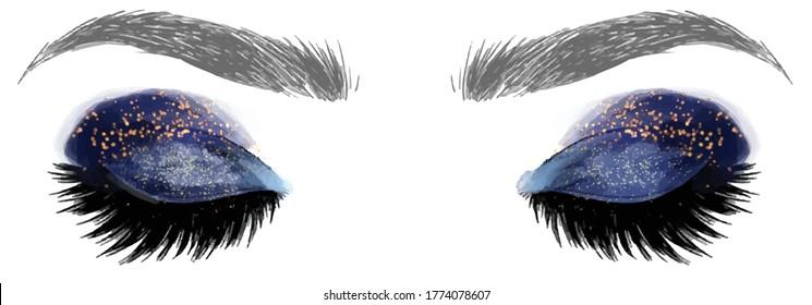 Hand drawn illustration vector closed eyes dark blue galaxy gold glitter eyeshadow makeup designer