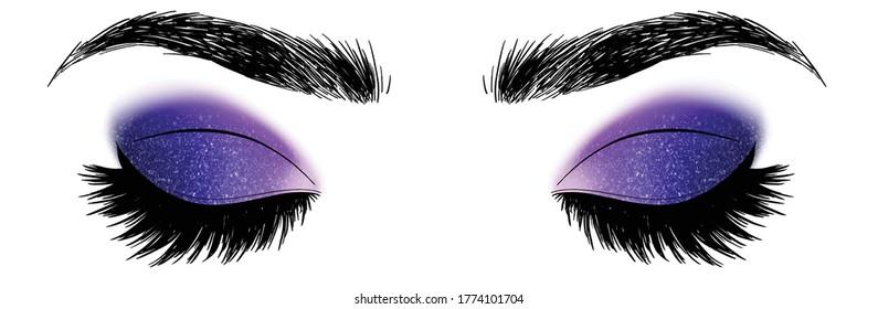 Hand drawn illustration vector closed eyes dark blue and purple galaxy sylver gold glitter eyeshadow makeup designer