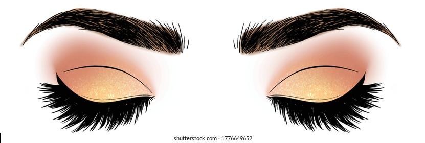Hand drawn illustration vector closed eyes pale rose pink yellow gold glitter eyeshadow makeup designer