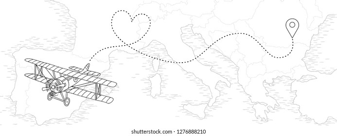 Hand drawn illustration of a vintage airplane with dotted route in heart shape, flying above a map of European countries