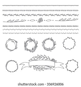 Hand drawn illustration Vintage decorative lovely set of laurels, ribbons, branches and wreaths Doodle greek ancient  wreath, text dividers and borders with laurel leaves, decorative design elements