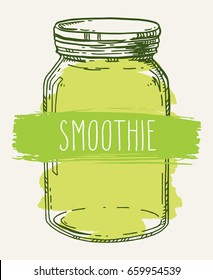 Hand drawn illustration with vintage smoothie glass jar. Colored green vector sketch isolated over white.