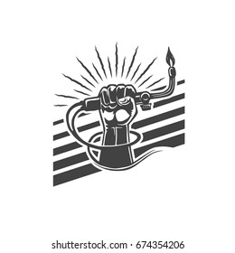 hand drawn illustration of a welder hand holding torch. Can be used as a design element of emblem. Ready to print for t-shirt for industrial and customization workshops