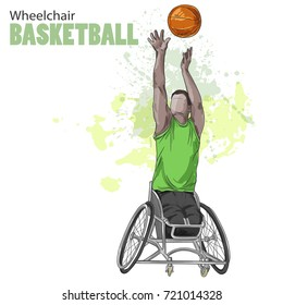 Hand drawn illustration. Wheelchair Basketball. Vector sketch sport. Graphic figure of disabled athlete with a ball. Active people. Recreation lifestyle. Man. Handicapped people.