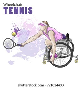 Hand drawn illustration. Wheelchair Tennis athlete. Vector sketch sport. Graphic figure of disabled girl with a racket and ball. Active people. Recreation lifestyle. Women. Handicapped people.