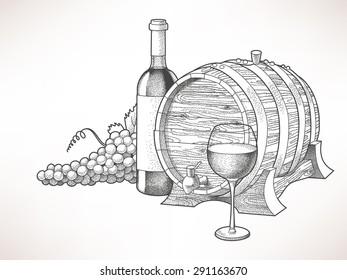 Hand drawn illustration of wine and grape
