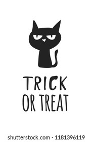 Hand drawn illustration Witch Black Cat and Quote. Creative ink art work. Actual vector drawing. Artistic isolated Halloween Character and text: Trick or Treat