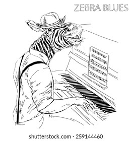 hand drawn illustration of zebra pianist, music poster