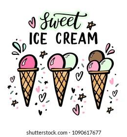 Hand drawn illustrations of ice cream. Vector icon set