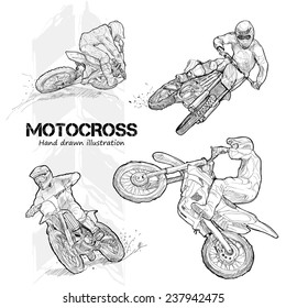 Hand drawn illustrations of motocross.