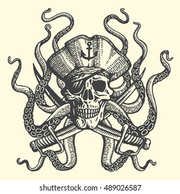 Hand drawn illustrations. Pirate skull with tentacles of octopus. Vector.
