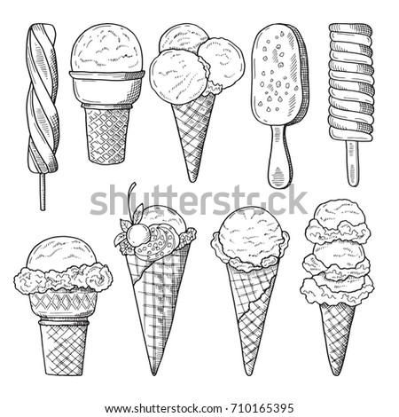 Hand Drawn Illustrations Set Ice Creams Stock Vektorgrafik