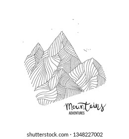 Hand drawn image of a mountain peak, engraving style, grunge textured vector illustrations