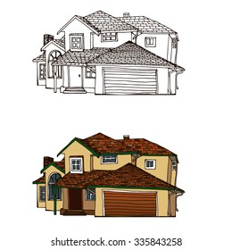 Hand drawn image of a private cottage (country house) with garage door. Real estate. Cottage in Canadian/American style. Vector illustration