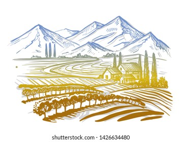 hand drawn image of village and landscape