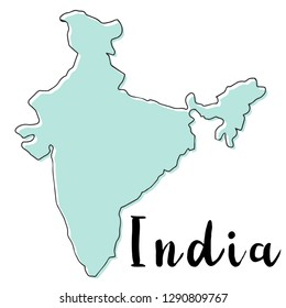 Hand drawn  of India map, vector  illustration