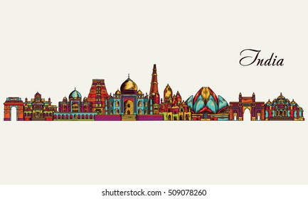 Hand drawn India skyline. Vector illustration
