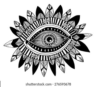 Hand drawn indian aztec tribal eye with feathers fashion illustration