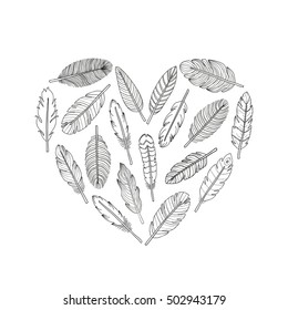 Hand drawn indian boho feathers composed in heart shape on white background.