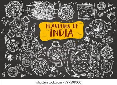 Hand drawn Indian food on a blackboard, Vector Illustration