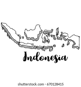 Hand drawn of Indonesia map, vector illustration