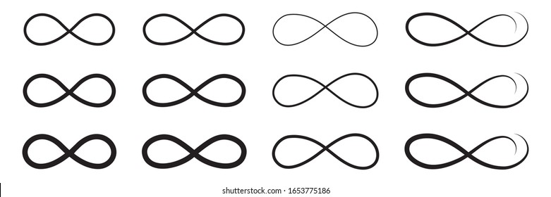 Hand drawn infinity symbol, sign doodle icon.