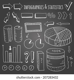 Hand drawn infographics and statistics elements