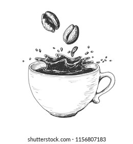 Hand drawn ink art, coffee cup with splash liquid and beans. Etching vintage drink illustration isolated on white background. Vector drawing.