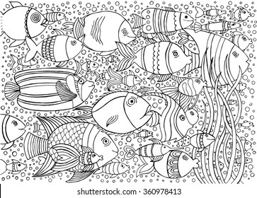 Hand drawn ink background with many fishes in the water. Sea life design for relax and meditation. Vector pattern black and white illustration can be used for coloring book pages for kids and adults.