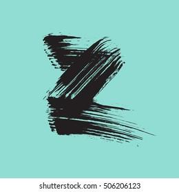 Hand drawn ink black brush stroke the letter Z.  ABC. Monogram