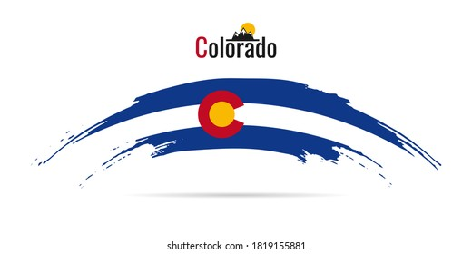 Hand drawn ink brush stroke national color Flag of Colorado USA State. Colorado patriotic symbol on white background. Holiday design poster, banner, flyer. Concept vector illustration