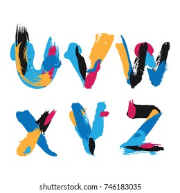 Hand drawn with ink brush strokes alphabet letters U, V, W, X, Y and Z. Bright watercolor blobs and imprints in vivid typography design