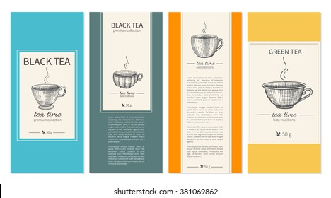 Hand drawn ink cups, Collection of templates for packaging tea, coffee, Design for label, banner, poster, branding identity with sketched cups and text, used for magazines, web sites, restaurant menu