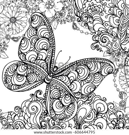 Hand Drawn Ink Doodle Butterfly Flowers Stock Vektorgrafik