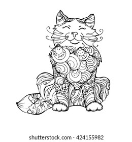 Hand Drawn Ink Doodle Cat On White Background Coloring Page
