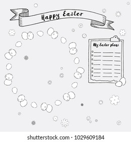 Hand drawn ink Easter plans and frames